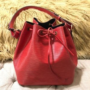 Authentic Louis Vuitton Red Epi Noe